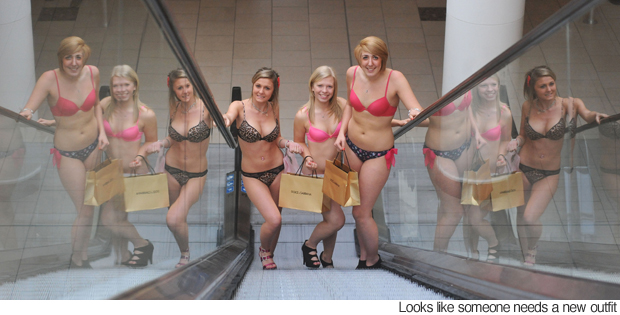 as hordes of underwear-clad women competed to win   163 100 gift vouchersWomen In Underpants Only